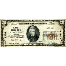 1929 $20 National Banknote Staunton VA Charter #2269 Fine #28785v3