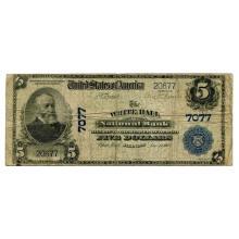 1902 $5 National Banknote White Hall IL Charter #7077 VG #28713v3