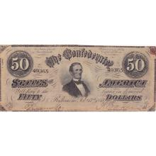 $50 1864 Confederate Note Richmond F-VF #28845v3