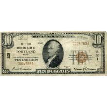 1929 $10 National Bank Note Portland ME Charter #221 VG-F #28767v3