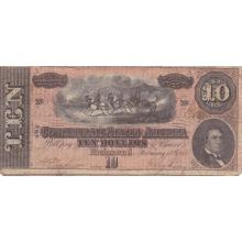 $10 1864 Confederate Note Richmond VA F-VF #28840v3
