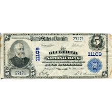 1902 $5 National Bank Note Bluefield WV Charter #11109 Fine #28717v3
