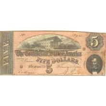 $5 1864 Confederate note Richmond VA F-VF #28837v3