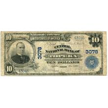 1902 $10 National Bank Note Topeka KS Charter #3078 Fine #28755v3