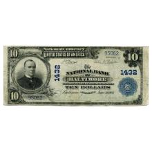 1902 $10 National Banknote Baltimore MD Charter #1432 Fine #28750v3