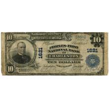 1902 $10 National Bank Note Charleston SC Charter #1621 VG #28751v3