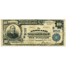 1902 $10 National Bank Note Ashland KY Charter #2010 Fine #28752v3