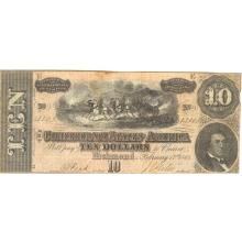 $10 1864 Confederate Note Richmond VA XF-AU #28841v3