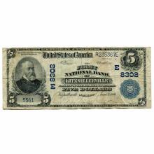1902 $5 National Banknote Kitzmillerville MD Charter #8302 Fine #28715v3