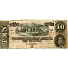 $10 1864 Confederate Note Richmond VA G-VG #28839v3