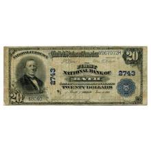 1902 $20 National Banknote Bath ME Charter #2743 VG #28777v3