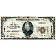 1929 $20 National Banknote Martinsburg WV Charter #6283 VF #28787v3