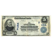1902 $5 National Banknote Clinton CT Charter #1314 VF #28706v3