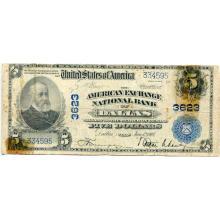 1902 $5 National Bank Note Dallas TX Charter #3623 Fair #28708v3