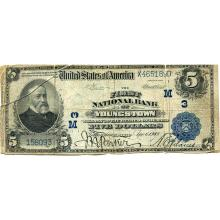 1902 $5 National Bank Note Youngstown OH Charter#3 VG #28703v3