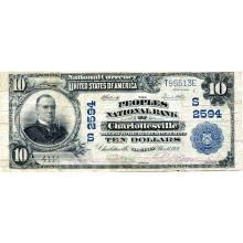 1902 $10 National Bank Note Charlottesville VA Charter #2594 F #28753v3