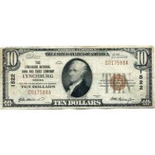 1929 $10 National Bank Note Lynchburg VA Charter #1522 F-VF #28771v3