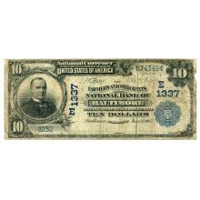 1902 $10 National Bank Note Baltimore MD Charter #1337 Date Back VG #28749v3