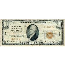 1929 $10 National banknote New York NY Charter #29 Fine #28765v3