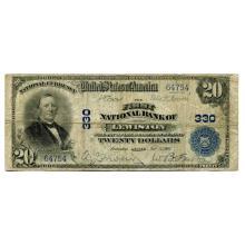 1902 $20 National Banknote Lewiston ME Charter #330 VG #28774v3