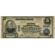 1902 $5 National Bank Note Atlanta GA Charter #5045 Fine #28709v3