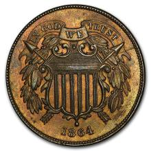 1864 Large Motto Two Cent Piece Choice BU (Brown ) #31216v3