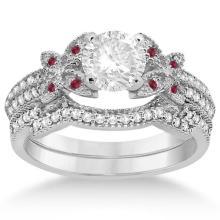 Butterfly Diamond and Ruby Bridal Set 14K White Gold (0.39ct) #70315v3