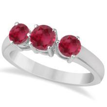 Three Stone Round Ruby Gemstone Ring in 14k White Gold 1.50ct #76015v3