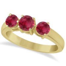 Three Stone Round Ruby Gemstone Ring in 14k Yellow Gold 1.50ct #76016v3