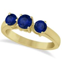 Three Stone Round Blue Sapphire Gemstone Ring 14k Yellow Gold 1.50ct #75998v3