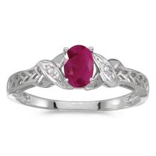 Certified 14k White Gold Oval Ruby And Diamond Ring #50809v3