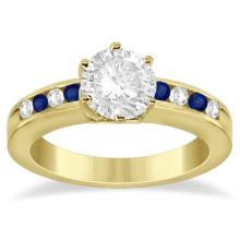 Channel Diamond and Blue Sapphire Engagement Ring 14K Y Gold (0.40ct) #70324v3