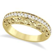 Vintage Filigree Diamond Wedding Ring 14K Yellow Gold (0.32ct) #71914v3