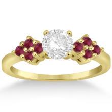 Designer Ruby Cluster Floral Engagement Ring 18k Yellow Gold (0.35ct) #72240v3