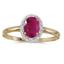 Certified 10k Yellow Gold Oval Ruby And Diamond Ring #51102v3