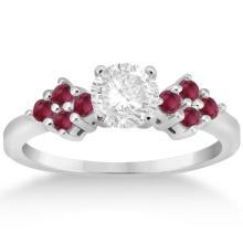 Designer Ruby Cluster Floral Engagement Ring in Platinum (0.35ct) #72242v3