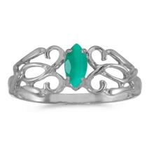 Certified 10k White Gold Marquise Emerald Filagree Ring #50697v3