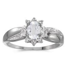 Certified 10k White Gold Oval White Topaz And Diamond Ring #51007v3