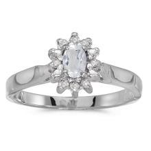 Certified 10k White Gold Oval White Topaz And Diamond Ring #50578v3