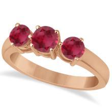 Three Stone Round Ruby Gemstone Ring in 14k Rose Gold 1.50ct #76017v3