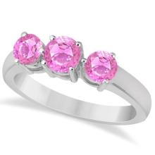 Three Stone Round Pink Sapphire Gemstone Ring 14k White Gold 1.50ct #76012v3