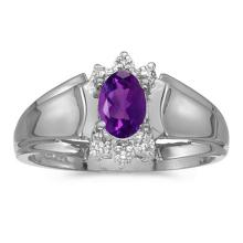 Certified 10k White Gold Oval Amethyst And Diamond Ring #50762v3