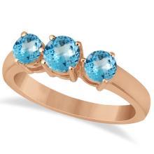 Three Stone Round Blue Topaz Gemstone Ring 14k Rose Gold 1.50ct #76002v3