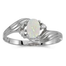 Certified 10k White Gold Oval Opal And Diamond Ring #51106v3