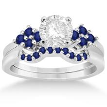 Blue Sapphire Engagement Ring and Wedding Band in Palladium (0.50ct) #72187v3