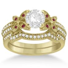 Butterfly Diamond and Ruby Bridal Set 14K Yellow Gold (0.39ct) #70316v3