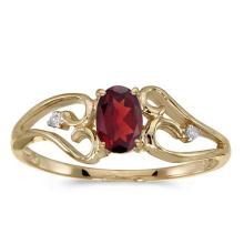 Certified 10k Yellow Gold Oval Garnet And Diamond Ring #50796v3