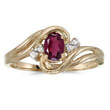 Certified 10k Yellow Gold Oval Rhodolite Garnet And Diamond Ring #51112v3