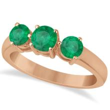 Three Stone Round Emerald Gemstone Ring in 14k Rose Gold 1.50ct #76008v3