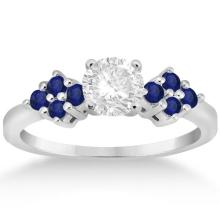 Designer Blue Sapphire Floral Engagement Ring in Platinum (0.35ct) #72170v3